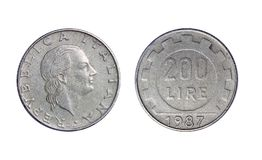 Old coin in Italy, 200 lire 1987 stock images