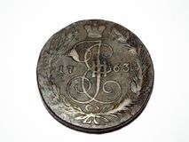 Old coin made in 1763 year. Photo taken on:  June 27 Monday, 2016 Stock Images