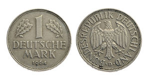 Old coin one deutschemark Royalty Free Stock Photography