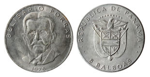 Old coin of the Republic of Panama (1976 year) Royalty Free Stock Photo