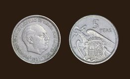 Old coin in Spain year 1957 stock images