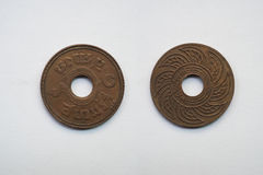 Old coin Thailand, which is obsolete today on white background Royalty Free Stock Photos