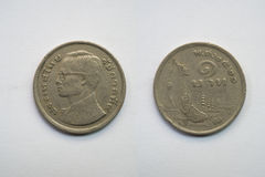 Old coin Thailand, which is obsolete today on white background Stock Images