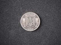 Old coin of Ukraine. 5 kopecks kopeika 1992 tail side isolated royalty free stock photography