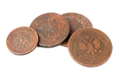Old coins. Of the Russia, isolated on a white background Stock Images