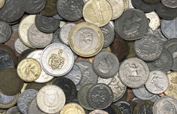 Old coins. Some old coins containing e.g. deutsche mark and other currencies replaced by the euro Royalty Free Stock Photos