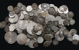 Old coins. Lot of medieval silver coins Royalty Free Stock Images