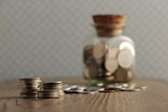 Old coins. On the wooden table, shallow dof royalty free stock images