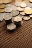 Old coins. On the wooden table, shallow dof stock images