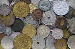 Old Coins. Collection of old coins from around the world Royalty Free Stock Images