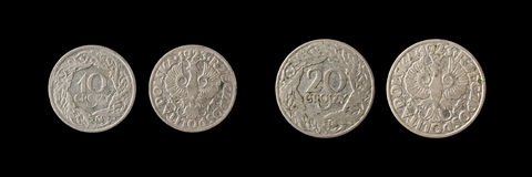 Old coins. Old poland coins of 10 and 20 groszy Stock Photo