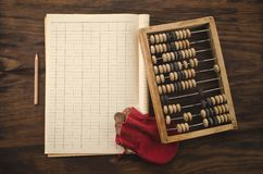 Old coins and abacus Royalty Free Stock Photography
