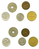 Old coins by both sides cut-out Royalty Free Stock Images