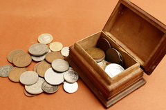 Old coins. Old cpins in a beautifull little box Royalty Free Stock Photos