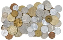 Old Coins of different countries Royalty Free Stock Image