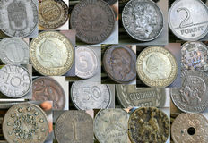Old coins of different countries Stock Photo