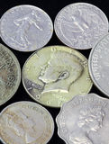 Old coins of different nationalities Royalty Free Stock Photos