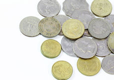 Old coins of different nationalities Royalty Free Stock Photo