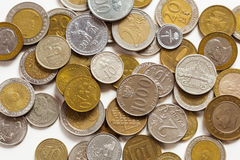 Old coins of different nationalities Stock Photo