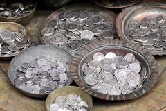 Old coins at a flea market Royalty Free Stock Photo