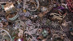 Old coins and gold treasures. Jewelry. Secret treasure stock footage