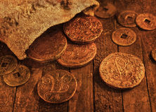 Old coins with grunge effect Royalty Free Stock Image