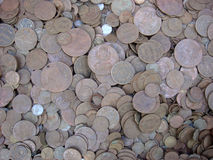 Old coins. Lots of old indian coins for collection at haridwar Royalty Free Stock Photo