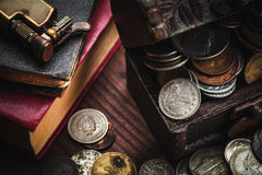 Old coins and old object Stock Image