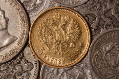 Old coins. Royal gold coin 1898. Five rubles. Imperial coin . Nicholas II . Gold . Russia Royalty Free Stock Photography