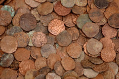 Old coins. Selection of indian old vintage coins Royalty Free Stock Images