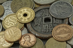 Old coins of several countries Stock Image