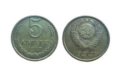 Old coins of Soviet Union Communist Russia 5 kopeks 1987. Money of the USSR isolated on white background royalty free stock photography