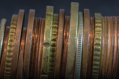 Old coins. Old stacked euros and eurocents Stock Image