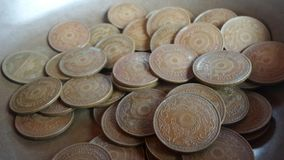 Old coins with temple symbol Royalty Free Stock Photo