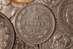 Old coins. Ten cents. Russian coins of the last century . Silver . Workers of the world unite Stock Image