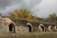 Old coke ovens in the Redstone Coke Oven Historic District, Colorado stock photography