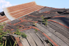 Old Collapsed Barn 1. Roof of old collapsed barn Royalty Free Stock Photography