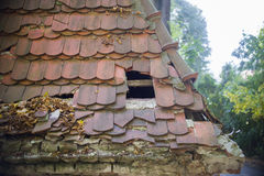 Old collapsed roof on a house Royalty Free Stock Image