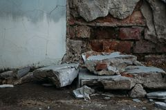Old collapsed wall stock images