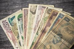 Old Colombian banknotes out of circulation stock photo