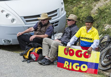 Old Colombian Supporter. Col du Glandon, France - July 24, 2015: Old Colombian supporter waiting for his favourit on the road to Col du Glandon in Alps, during Royalty Free Stock Images