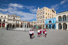Old colonial buildings on Plaza Vieja square, Havana, Cuba Royalty Free Stock Photography