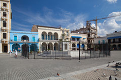 Old colonial buildings on Plaza Vieja square, Havana, Cuba Stock Photos