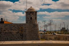 The old colonial castle of San Salvador de la Punta. Havana. The old fortress Cuba.  Royalty Free Stock Photos