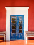 Old colonial door. Old blue colonial door somewhere in Mexico Stock Photo