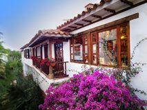 Old colonial house surrounded by plants and flowers stock photos