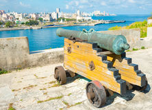 Old colonial spanish cannon aiming at the city of Havana Royalty Free Stock Image