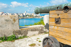 Old colonial spanish cannon aiming at the city of Havana Stock Images