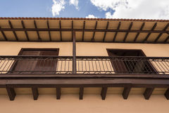 Old Colonial Spanish house with balcony in Santiago de Cuba, Cuba Royalty Free Stock Photos