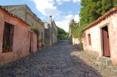 Old Colonial street. Old colonial cobblestone street.  Colonia del Sacramento.  Uruguay Royalty Free Stock Photo